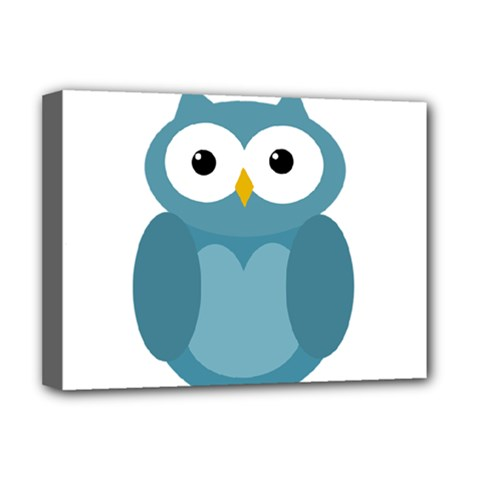 Cute blue owl Deluxe Canvas 16  x 12