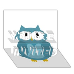 Cute blue owl YOU ARE INVITED 3D Greeting Card (7x5)