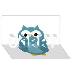 Cute blue owl SORRY 3D Greeting Card (8x4)