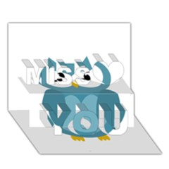 Cute blue owl Miss You 3D Greeting Card (7x5)