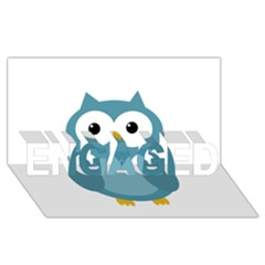 Cute blue owl ENGAGED 3D Greeting Card (8x4)