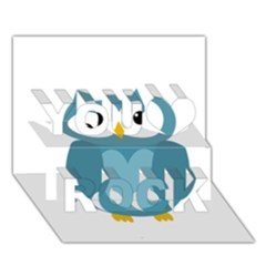 Cute blue owl You Rock 3D Greeting Card (7x5)