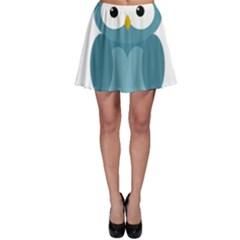 Cute blue owl Skater Skirt