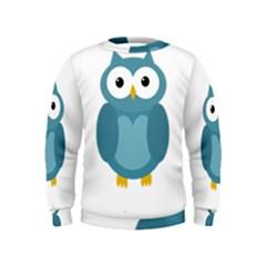 Cute blue owl Kids  Sweatshirt