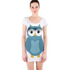 Cute blue owl Short Sleeve Bodycon Dress