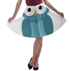 Cute blue owl A-line Skater Skirt
