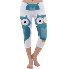 Cute blue owl Capri Yoga Leggings