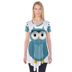 Cute Blue Owl Short Sleeve Tunic