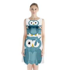 Cute Blue Owl Sleeveless Waist Tie Dress