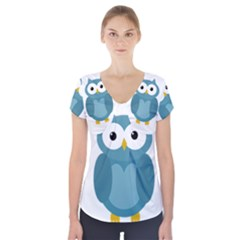 Cute blue owl Short Sleeve Front Detail Top