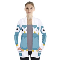 Cute blue owl Women s Open Front Pockets Cardigan(P194)