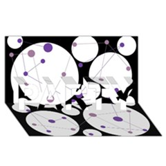 Decorative circles - purple PARTY 3D Greeting Card (8x4)