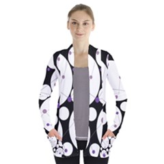 Decorative Circles   Purple Women s Open Front Pockets Cardigan(p194)