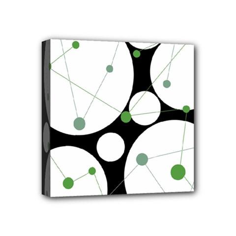 Decorative Circles   Green Mini Canvas 4  X 4