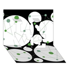 Decorative circles - green LOVE 3D Greeting Card (7x5)
