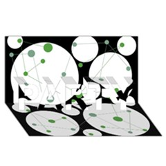 Decorative circles - green PARTY 3D Greeting Card (8x4)