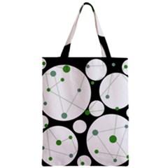 Decorative circles - green Zipper Classic Tote Bag