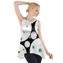 Decorative Circles   Green Side Drop Tank Tunic