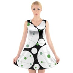 Decorative circles - green V-Neck Sleeveless Skater Dress