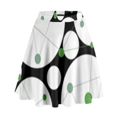 Decorative circles - green High Waist Skirt