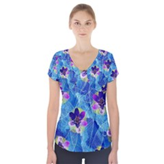 Purple Flowers Short Sleeve Front Detail Top