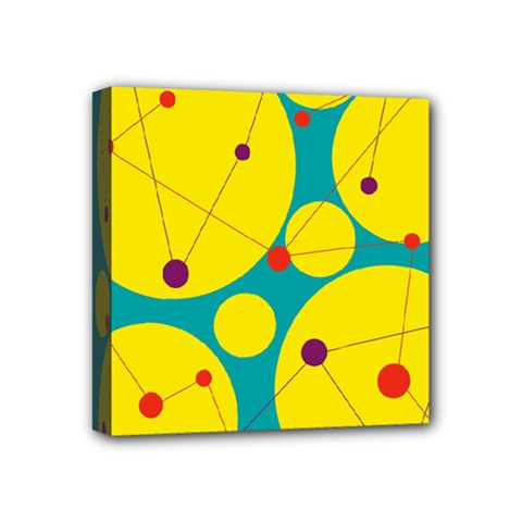 Yellow and green decorative circles Mini Canvas 4  x 4