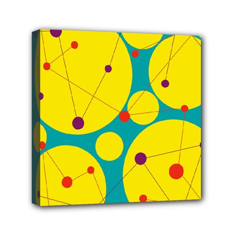 Yellow and green decorative circles Mini Canvas 6  x 6