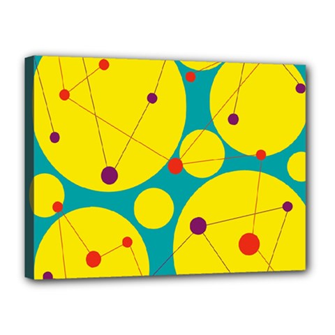 Yellow and green decorative circles Canvas 16  x 12