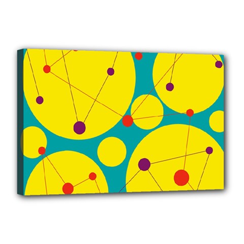 Yellow and green decorative circles Canvas 18  x 12