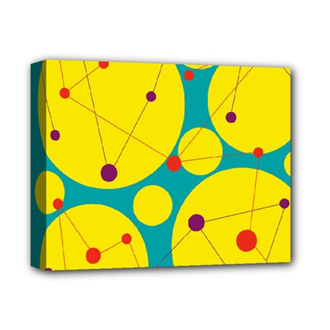 Yellow and green decorative circles Deluxe Canvas 14  x 11