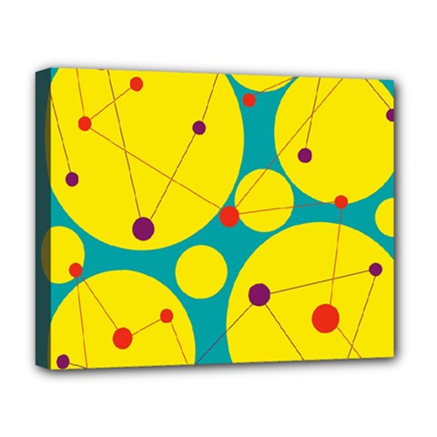 Yellow and green decorative circles Deluxe Canvas 20  x 16