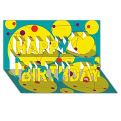 Yellow and green decorative circles Happy Birthday 3D Greeting Card (8x4)