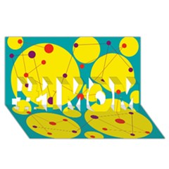 Yellow and green decorative circles #1 MOM 3D Greeting Cards (8x4)