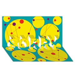 Yellow and green decorative circles SORRY 3D Greeting Card (8x4)
