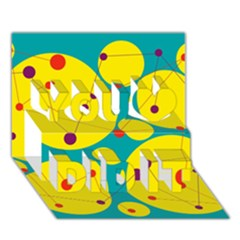 Yellow and green decorative circles You Did It 3D Greeting Card (7x5)