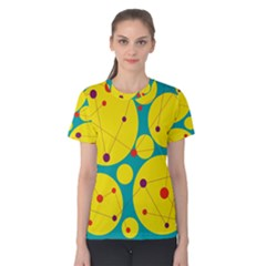 Yellow and green decorative circles Women s Cotton Tee