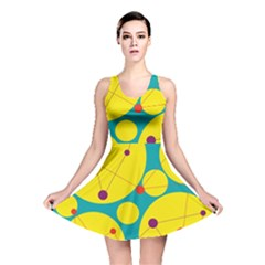 Yellow and green decorative circles Reversible Skater Dress