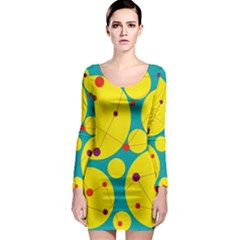 Yellow and green decorative circles Long Sleeve Bodycon Dress