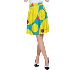 Yellow and green decorative circles A-Line Skirt