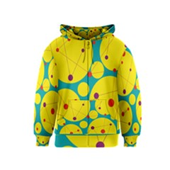 Yellow and green decorative circles Kids  Zipper Hoodie