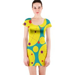 Yellow and green decorative circles Short Sleeve Bodycon Dress