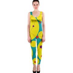 Yellow and green decorative circles OnePiece Catsuit