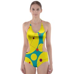 Yellow and green decorative circles Cut-Out One Piece Swimsuit