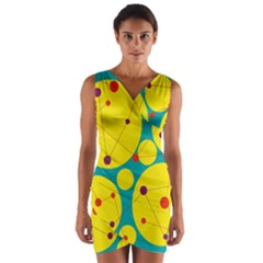 Yellow And Green Decorative Circles Wrap Front Bodycon Dress