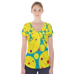 Yellow and green decorative circles Short Sleeve Front Detail Top