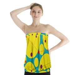 Yellow and green decorative circles Strapless Top