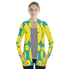Yellow and green decorative circles Women s Open Front Pockets Cardigan(P194)