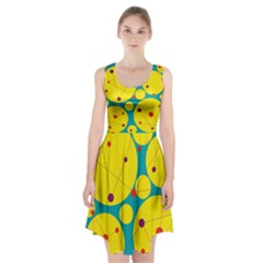 Yellow and green decorative circles Racerback Midi Dress