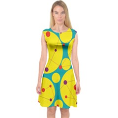 Yellow And Green Decorative Circles Capsleeve Midi Dress