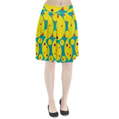 Yellow and green decorative circles Pleated Skirt